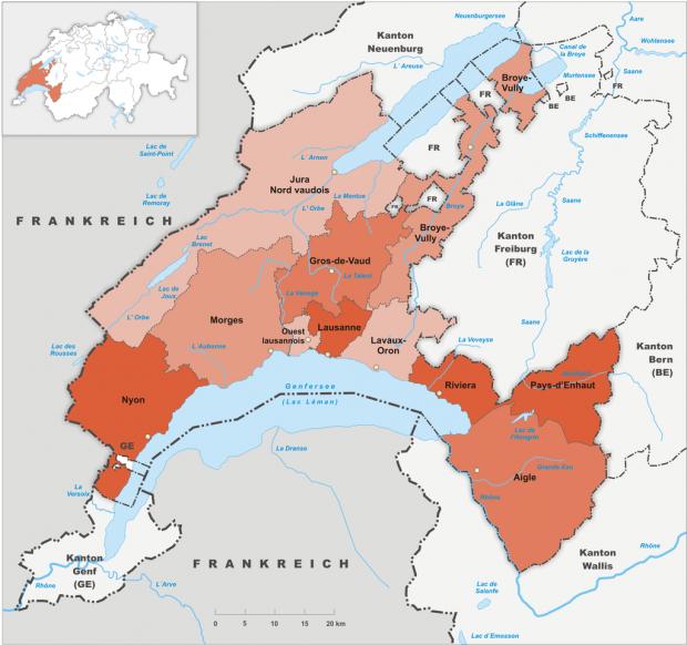 Carte des districts du Canton de Vaud