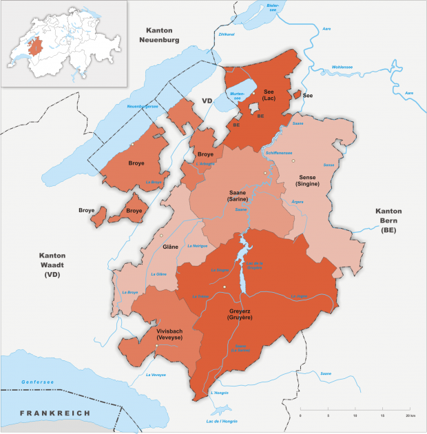 Carte des districts du canton de Fribourg