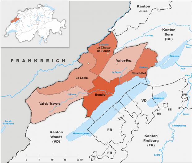 Carte des districts du canton de Neuchâtel